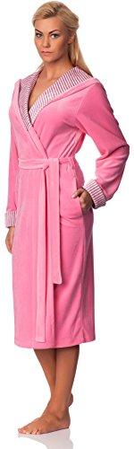 Merry Style Langer Damen Velour Bademantel mit Kapuze Penelope Rosa