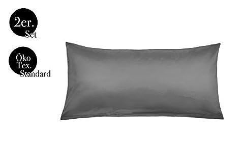 Kissenbezüge Doppelpack 2er Set Bettwäsche Kopfkissen-Bezüge Kissenhüllen Kissenbezug Kissen Sofakissen Bett Deko Grau 40x80 100% Baumwolle Cotton Kinderbettwäsche (40 x 80 cm, Grau)