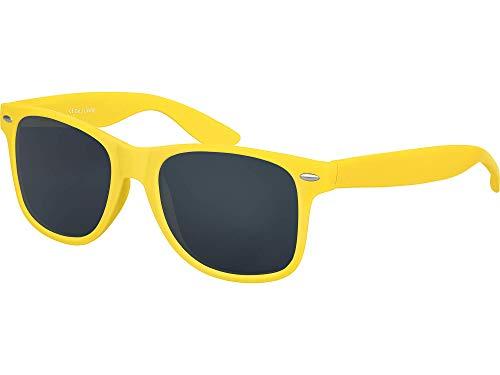 Balinco Hochwertige Nerd Sonnenbrille Rubber im Wayfarer Stil Retro Vintage Unisex Brille mit Federscharnier - 96 verschiedene Farben/Modelle wählbar (Gelb - ()
