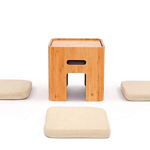 LARRY SHELL Small Storage Ottoman, mit 4 Kissen, Schlichtes Design Couchtisch Tatami japanischen Stil Teetische Bambus Hocker, für Wohnzimmermöbel - Bambus-set Akzent-tabelle