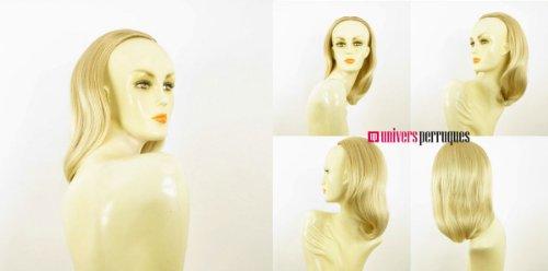 Demi-tête, demi-perruque courte lisse 40 cm blond doré méché blond très clair ref 021 en 24bt613