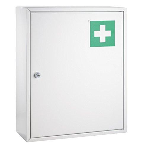 Preisvergleich Produktbild Erste Hilfe Verbandsschrank weiß lackiert DR-Büro 1790 - Zwei Einlegeböden - Maße (B / T / H) 36x15x45 cm - inkl. Befestigungsmaterial - abschließbar
