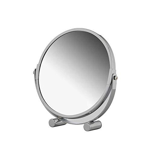 axentia 3-fach Vergrößerungs-Standspiegel in Silber, rostfreier Badezimmerspiegel verchromt, runder Kosmetikspiegel im Durchschnitt ca. 17 cm