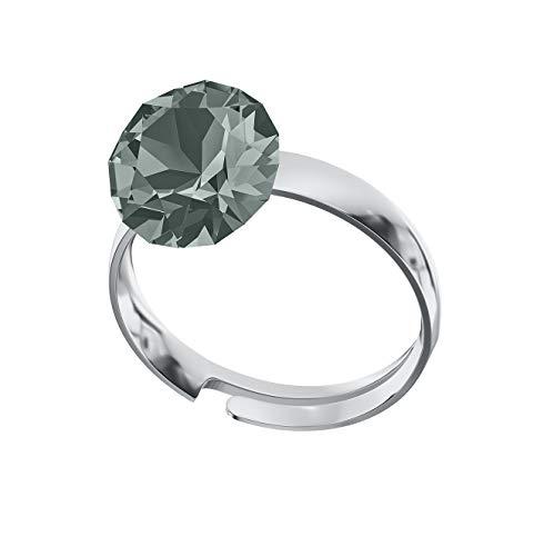 Crystals & Stones Ring *XIRIUS* *VIELE FARBEN* Swarovski® Elements - 925 Sterling Silber Damen Ring Größe Verstellbar! Sheer elegante Ring! PIN/75 (Black Diamond) (7 Größe Black Diamond Damen Ringe)