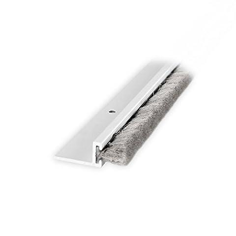 DIWARO® Türbodendichtung, Türdichtung, Bodendichtung, Tordichtung, Bürstendichtung   Länge 1m   aluminium pressblank   geeignet als Türdichtung zum Schutz vor Kälte und hohen Heizkosten.