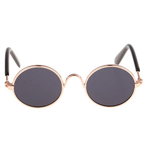 FLAMEER 1 Paar Mode Puppen Brille Sonnenbrille mit runde Metall Rahmen für 1/6 BJD Mädchen Puppen - Schwarz A