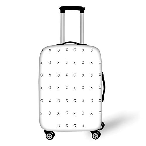 ae94e333a3a3 Travel Luggage Cover Suitcase Protector,XO Decor,Hand Drawn Cross Zero  Pattern Classic Game Tic TAC Toe in Black and White Colors,Black White,for  ...
