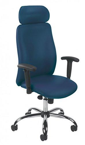 Dreams4Home Drehstuhl \'Jupiter II\', Bürostuhl, Schreibtischstuhl, Chefdrehsessel, Chefsessel, Arbeitsdrehstuhl, Stuhl, blau