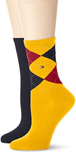 Tommy Hilfiger Damen Socken, 2er Pack, Mehrfarbig (Red/ Yellow/ Blue 628), 35/38