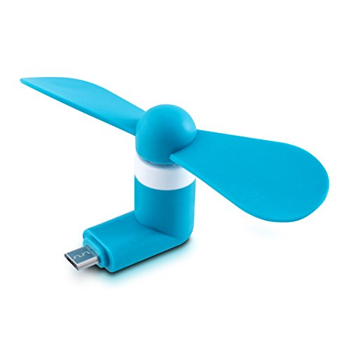 Preisvergleich Produktbild kwmobile Micro USB Ventilator für Smartphone - Mini Cooling Fan Lüfter für Handy,  Tablet,  Powerbank in Blau - z.B. geeignet für Samsung,  Wiko,  Huawei,  LG,  Sony,  HTC,  ZTE
