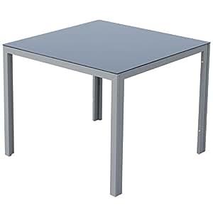 Outsunny Gartentisch mit Glasplatte, Aluminium, grau, 90 x 90 x 72 cm, 01-0700