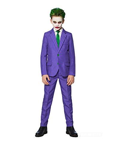 Generique - Mr. Joker Suitmeister-Kostüm für Kinder lila-grün-schwarz 122/128 (8-10 Jahre) (Schwarze Joker Kostüm)