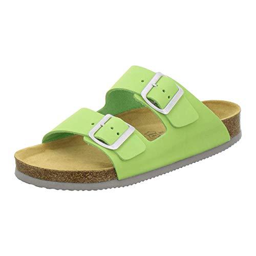 AFS-Schuhe 2100, Bequeme Damen Pantoletten echt Leder, praktische Arbeitsschuhe, Hausschuhe, Handmade in Germany Größe 40 EU Grün (Apfel)