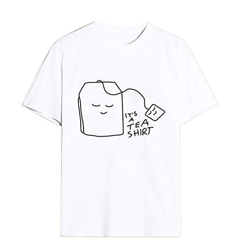 Bluse Shirts Tops Hemd Tunika Mädchen Plus Size Print Tee Kurzarm(Weiß,L) ()