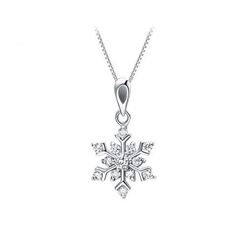 Argento sterling bianco fiocco di neve pendente realizzato con cristalli Swarovski