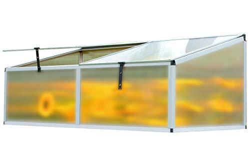 OUTFLEXX Hochbeet-Aufsatz aus Alu/Hohlkammerplatten in Silber, ca. 176x86x60 cm für Frühbeete, Hügelbeete und Gartenbeete zum Schutz der Blumen, Pflanzen, Gemüse und Kräuter