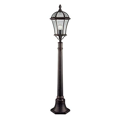 Searchlight 1568 Capri Rustic Brown Outdoor Lantern Post Light with Bevelled Glass