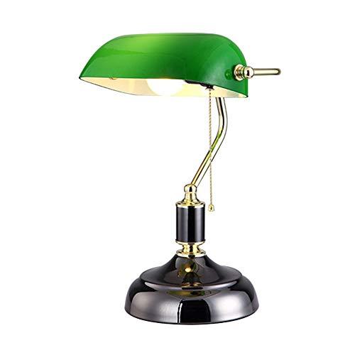 CCSUN Traditionellen Banker lampe Bett Tischlampe, Vintage Tischleuchte Mit Glas lampenschirm Weiche beleuchtung E27 Für Schlafzimmer Essen Wohnzimmer-schwarz -