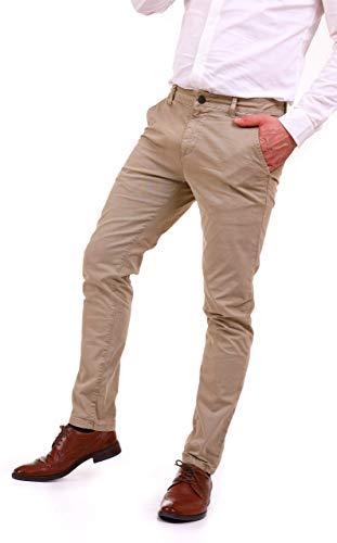 Pantaloni uomo chino casual elegante slim fit basic classico da ufficio tasca america in cotone (38/52 it, beige)