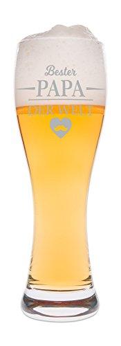 Leonardo Weizenglas mit Gravur - Bester Papa der Welt - Geschenk für Papa ideal als Vatertagsgeschenk 0,5l Bierglas Weizenbierglas als Geburtstagsgeschenk für Männer