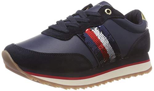 Tommy Hilfiger Damen Tommy Sequins Retro Runner Sneaker Blau (Midnight 403) 37 EU