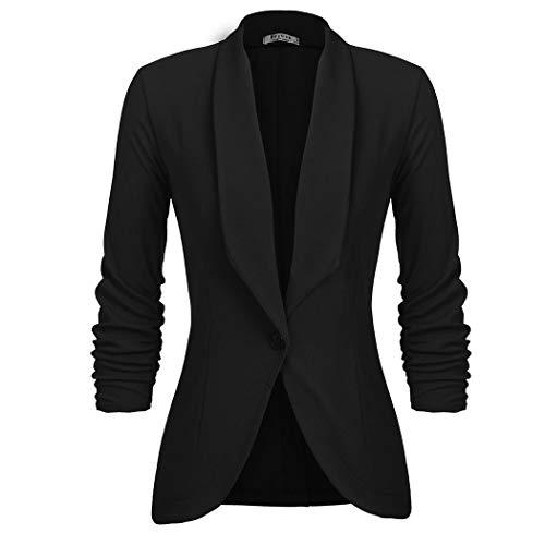UNibelle Damen Frühling Mode Floral Baseball Mantel Tops Coat Bomberjacke Bikerjacke Reißverschluss Fliegerjacke Kurzjacke Schwarz M