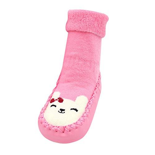 Fuibo Boden Socken, Baby Cartoon Neugeborenes Baby Mädchen Jungen Anti-Rutsch Socken Slipper Schuhe Stiefel Baby Schritt Socken Hüttenschuh Socken (14(Alter: 18-24M), Pink)