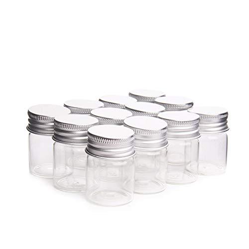 Amorar 12 Stück 15ML Mini Transparente Glas Flaschen Leer Kleine Kunststoff Flaschen mit Schraubverschluss Ölflaschen Ampullen Probe Gläser Laborfläschchen Befüllbarer Behälter -