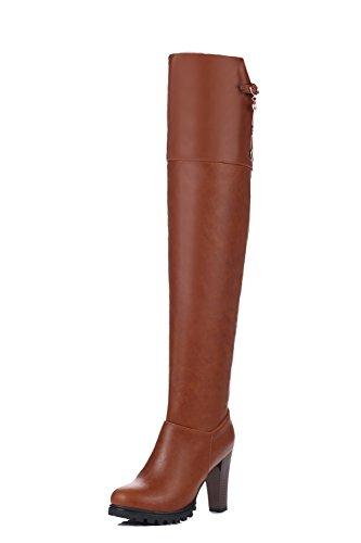 VogueZone009 Damen Hoch-Spitze Rein Ziehen auf Schließen Zehe Hoher Absatz Stiefel, Schwarz, 35