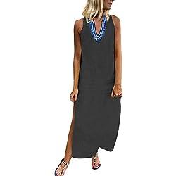 Robe de Aux Femmes FNKDOR Imprimé sans ManchesCol en v Maxi Ourlet Fendu Bouffant Caftan Longue Robes(Y Noir,FR-38 / CN-S)