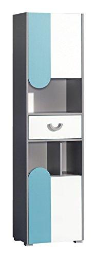 Bücherschrank Futuro mit 2 Türen und 1 Schublade Türkis/Brillantweiß (Bücherschrank Schubladen)