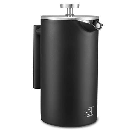 SILBERTHAL French Press 1 Liter – Edelstahl Kaffeebereiter schwarz – Doppelwandig Thermo-Isolierte Kaffeepresse