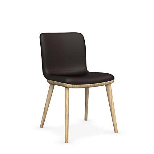 Calligaris Annie gepolsterten Holz Stuhl in Massivholz Eiche Natur/Esche Rahmen & Leder Kaffee Sitz - Esche Gepolstert Stuhl