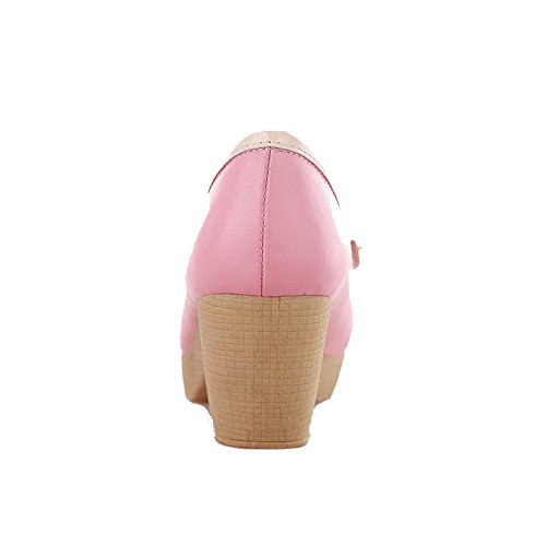 AllhqFashion Damen Pu Gemischte Farbe Ziehen Auf Rund Zehe Mittler Absatz Pumps Schuhe Pink