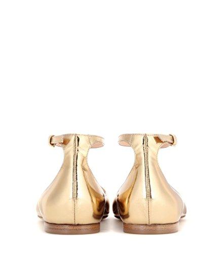 ELASHE - Femmes - Ballerines - Grande Taille Chaussures - Plates à brides cheville - Bout pointu fermé Or