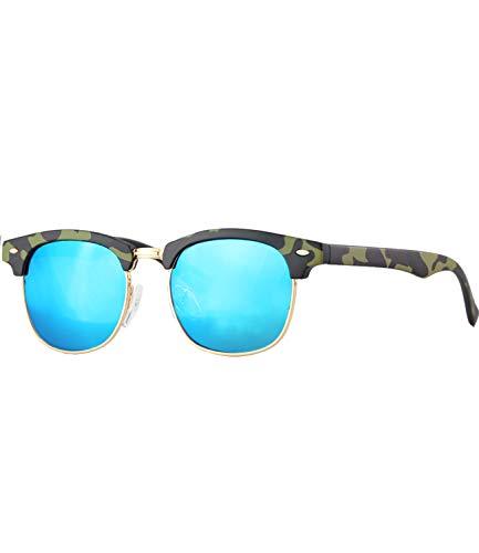 Caripe Kinder Sonnenbrille Retro Vintage Mädchen Jungen Verspiegelt - klubbakid (One Size, 833 - Camouflage - blau verspiegelt)