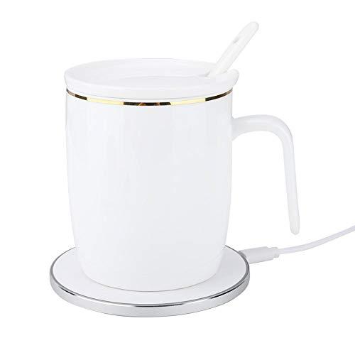 Kafuty Heizung Keramik Tasse Smart Induction Intelligente Temperaturregelung mit 50° Thermostat Mug Support Wireless Schnellladung 5W/10W mit Telefon Starke Campatibility für Home/Office/Kaffee/Tee Wireless Office-telefon