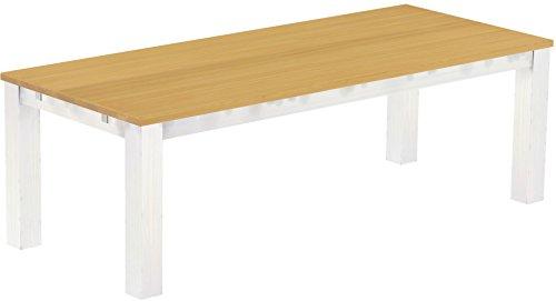 Brasilmöbel Esstisch Rio Classico 240x100 cm Eiche hell Weiß Massivholz Pinie Holz Esszimmertisch Echtholz Größe und Farbe wählbar ausziehbar vorgerichtet für Ansteckplatten