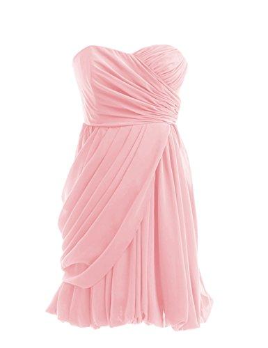 Dressystar Robe de demoiselle d'honneur/de soirée courte Sans Bretelles, en Mousseline Rose