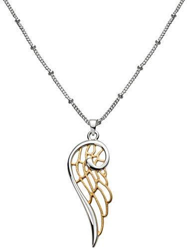 Perlkönig Kette Halskette | Damen Frauen | Engelsflügel in Silber Gold | Glänzend Matt | Bicolor | Karabiner | Nickelfrei