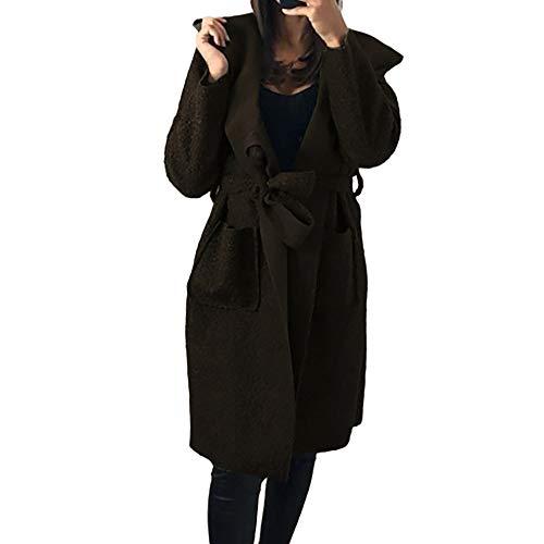 Toasye Frauen Herbst Winter Langarm Knielange Jacke, Damen Casual Einfarbig Mit Kapuze Strickjacke Outwear Mit Verband