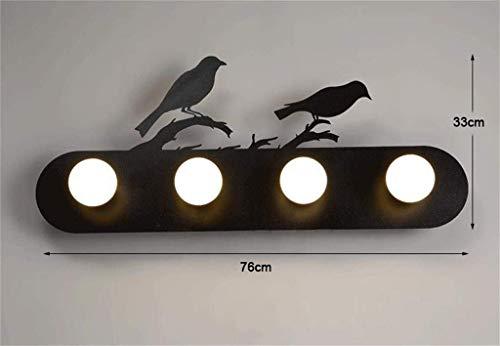 Schwarz Vier-licht Kronleuchter (YISHUAI8 Moderne kreative Licht/Vintage Eisen Bar Wandlampe Restaurant Persönlichkeit Dekorative Licht E27 * 4, Schwarz)