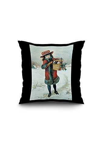 girl-with-puppies-in-basket-vintage-poster-artist-stcs-20x20-spun-polyester-pillow-case-black-border
