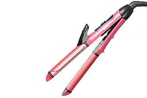 MAXELNOVA 2-in-1 Ceramic Plate Combo Beauty Set of Hair Straightener Plus Curler, Pink