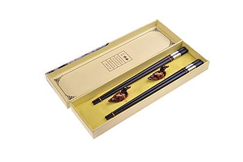 Quantum Abacus Black Metal Set de Baguettes de Luxe en Alliage métallique dans Coffret Cadeau - 2 Paires des Baguettes en métal Noir, 2 Supports en Bambou, SC-H-S2-ML-01