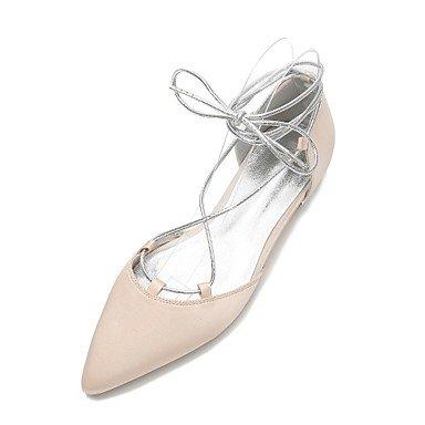 Wuyulunbi@ Scarpe donna raso Primavera Estate & Comfort in due pezzi Ballerina cinturino alla caviglia scarpe matrimonio Punta Perla Bowknot Champagne