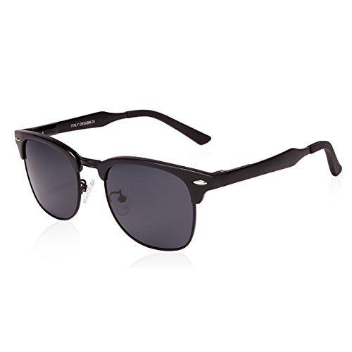 SUNGAIT Damen classic halb rahmen retro-sonnenbrille mit polarisiertem objektiv Schwarz Metal Rahmen Grau Linse Free Size