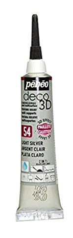 Pebeo Deco 3D Paint 20 ml Tube Glitter Light Silver 54