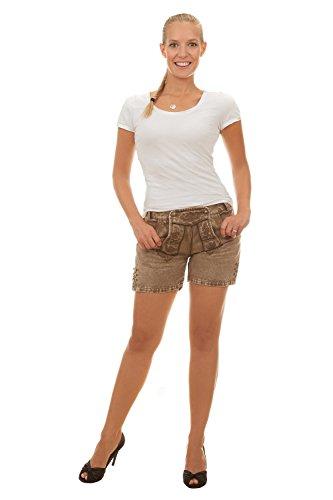 Vegane Shorts SARA im Lederhosen Look aus Baumwollsatin (36)