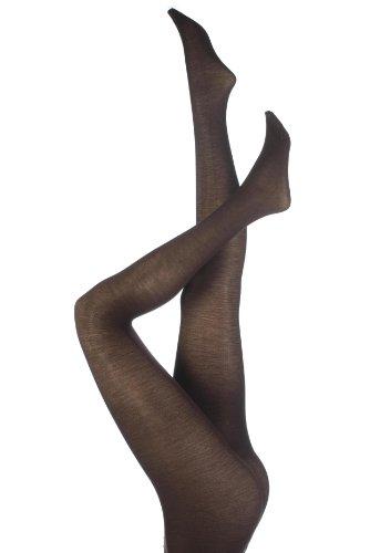 Damen 1 Paar Trasparenze Jennifer Merino Wolle Strumpfhosen in 7 Farben - Medium - Dunkelbraun (Strumpfhose Wolle Trasparenze)